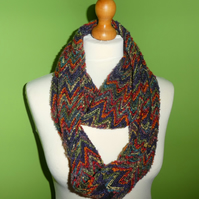 Infinity Cowl in Bright Rainbow Zig Zags with Hidden  Zipped  Pocket.