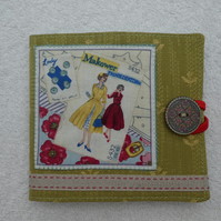 Sewing Needle Case with Dressmaking Pattern Applique Panel