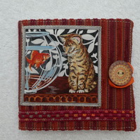 Sewing Needle Case with Cat and Goldfish Applique Panel
