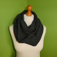 Infinity Cowl in Black and White Polka Dot with Hidden Zipped  Pocket.