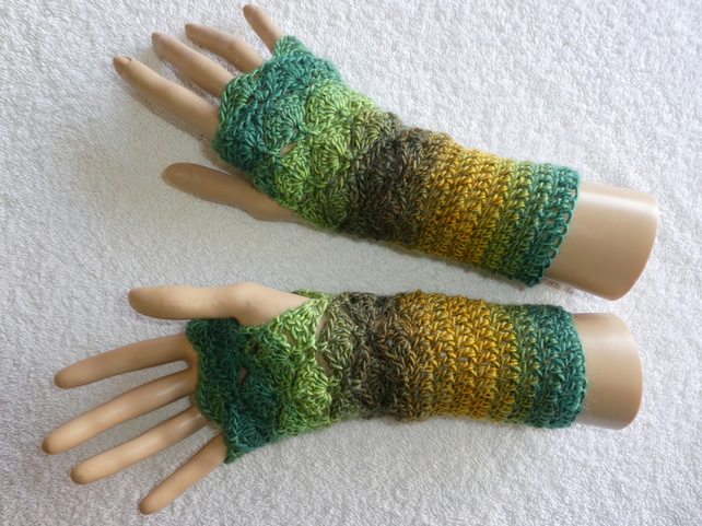 Crochet Fingerless Gloves Wrist Warmers in Double Knit Yarn Green and Gold No 1