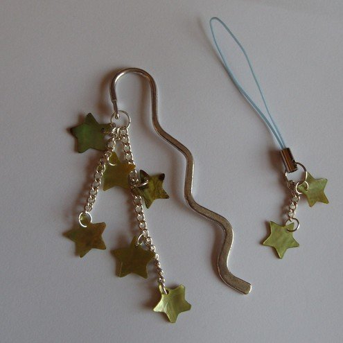 *SALE*Green Stars Bookmark & Phone Charm Set