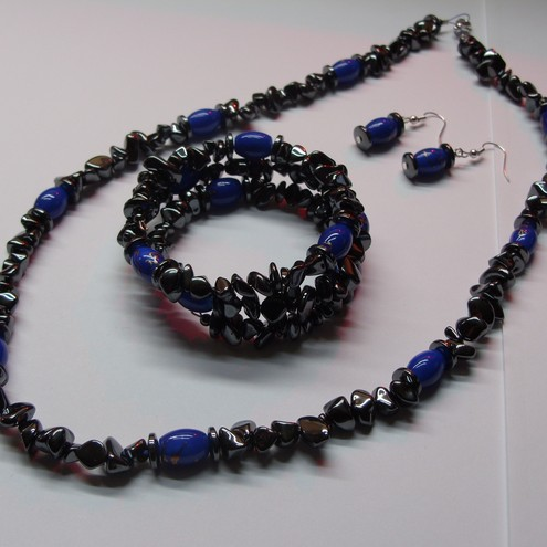 Haematite Blue Beaded Necklace Set