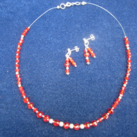 Red glass bead Necklace & Earing set
