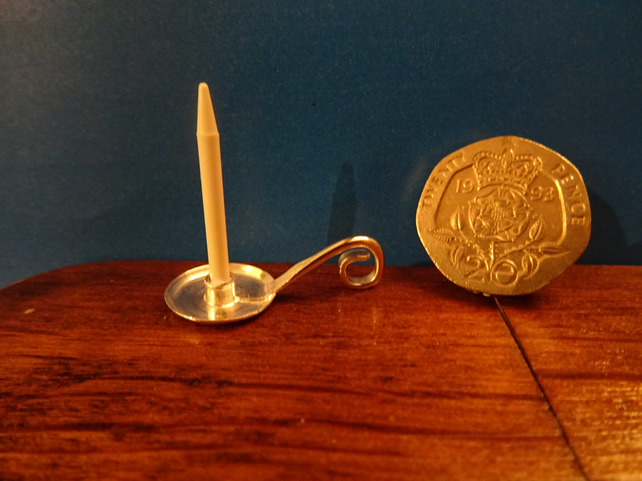 Silver Chamberstick & Candle