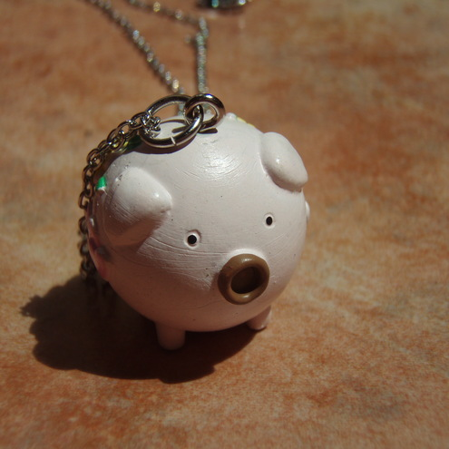 Companion Collection- This Little Piggy Went To Market Pink Pig Pendant Necklace - - Gift Packaged