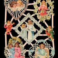 Paper Scrap Die Cut Reliefs by EF Germany, Lithograph, Angels