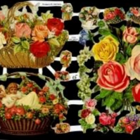Paper Scrap Die Cut Reliefs by EF Germany, Lithograph, Flowers