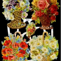 Paper Scrap Die Cut Reliefs by EF Germany, Lithograph, Flowers, Flower Basket