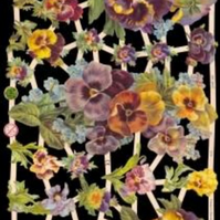 Paper Scrap Die Cut Reliefs by EF Germany, Lithograph, Flowers, Pansy