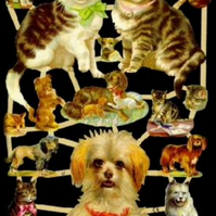 Paper Scrap Die Cut Reliefs by EF Germany, Lithograph, Cats and Dogs