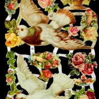 Paper Scrap Die Cut Reliefs by EF Germany, Lithograph, Birds and flowers