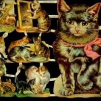 Paper Scrap Die Cut Reliefs by EF Germany, Lithograph, Cats
