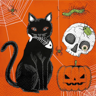 2 x Paper Napkins for Decoupage, Serviette, 3ply, 33cm, Halloween cat