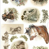 A4 Decoupage Paper, Smooth, Soft, Scrapbooking, Cats