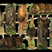Paper Scrap Die Cut Reliefs by EF Germany, Lithograph, Wild Animals