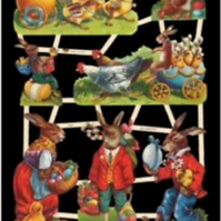 Paper Scrap Die Cut Reliefs by EF Germany, Lithograph, Rabbits