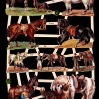 Paper Scrap Die Cut Reliefs by EF Germany, Lithograph, Horses