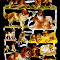 Paper Scrap Die Cut Reliefs by EF Germany, Lithograph, Vintage Dogs