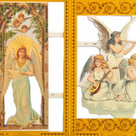 Paper Scrap Die Cut Reliefs by MAMELOK, England, Lithograph, Angels