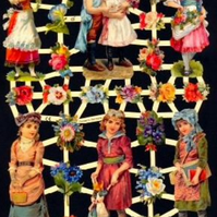 Paper Scrap Die Cut Reliefs by EF Germany, Lithograph, Victorian Children