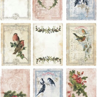 A4 Scrapbooking Paper Card Tags, Vintage Floral with Birds