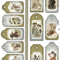 A4 Scrapbooking Paper Card Tags, Vintage Cat and Dog Scenes