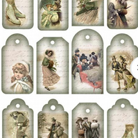 A4 Scrapbooking Paper Card Tags, Vintage Winter Scenes
