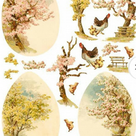 A4 Scrapbooking Paper Card Tags, Vintage Oriental Japanese Scenes