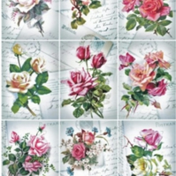 A4 Scrapbooking Paper Card Tags, Vintage Floral Scenes