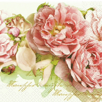 2 x Paper Napkins for Decoupage, Serviette, 3ply, 33cm, Flowers, Pink Peony