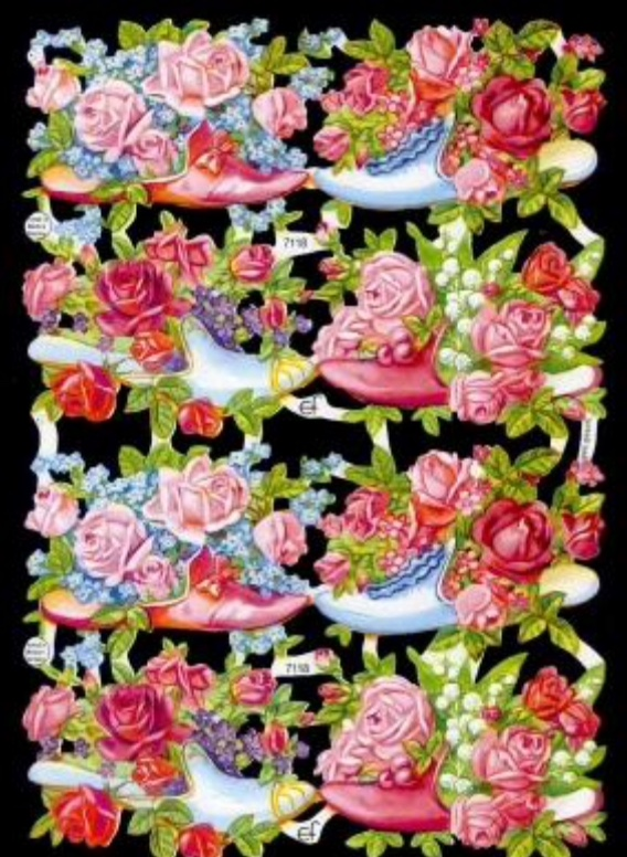 Paper Scrap Die Cut Reliefs by EF Germany, Lithograph, Floral