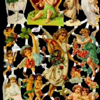 Paper Scrap Die Cut Reliefs by EF Germany, Lithograph, flowers, Angels