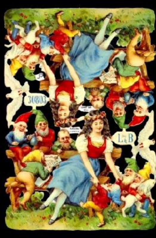Paper Scrap Die Cut Reliefs by EF Germany, Lithographs, Angels, Snow White