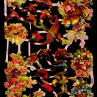 Paper Scrap Die Cut Reliefs by EF Germany, Lithographs, Flowers,Birds