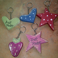 Best Teacher Heart, Strawberry & Star Key Rings