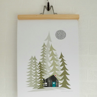 Log Cabin in the Woods Forest  Alpine Print Poster