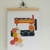 Sewing Machine Craft Print Poster A3