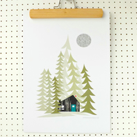 Log Cabin in the woods Alpine Print