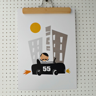 Boys Yellow Cab Nursery Print A3