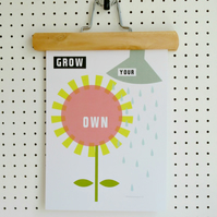 Flower Print Grow Your Own A4