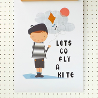 Little Boy with Kite Print Nursery Poster A3