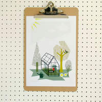 Greenhouse Gardeners Print Allotment Poster A4 Nature Growing