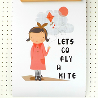 SALE Girl with Kite Print Nursery Poster A3 Pink Black White Girl Cloud