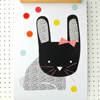 SALE Bunny Print A3 Poster Nursery Art Print Rabbit Black White Geometric Dots