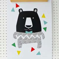 SALE Black Bear Print A3 Poster Graphic Minimalist Nursery Art Print