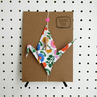 Thank you card greeting Origami Crane Gift