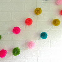 Pom Pom Garland Bunting Pink Orange Blue Yellow Made to Order