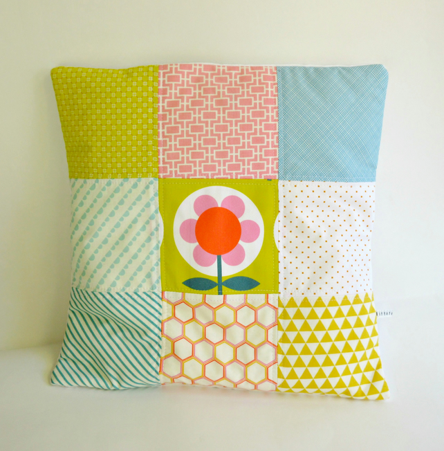 Modern Patchwork Nine Patch Cushion cover in Pink Blue Orange White