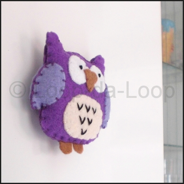 Purple owl fridge magnet